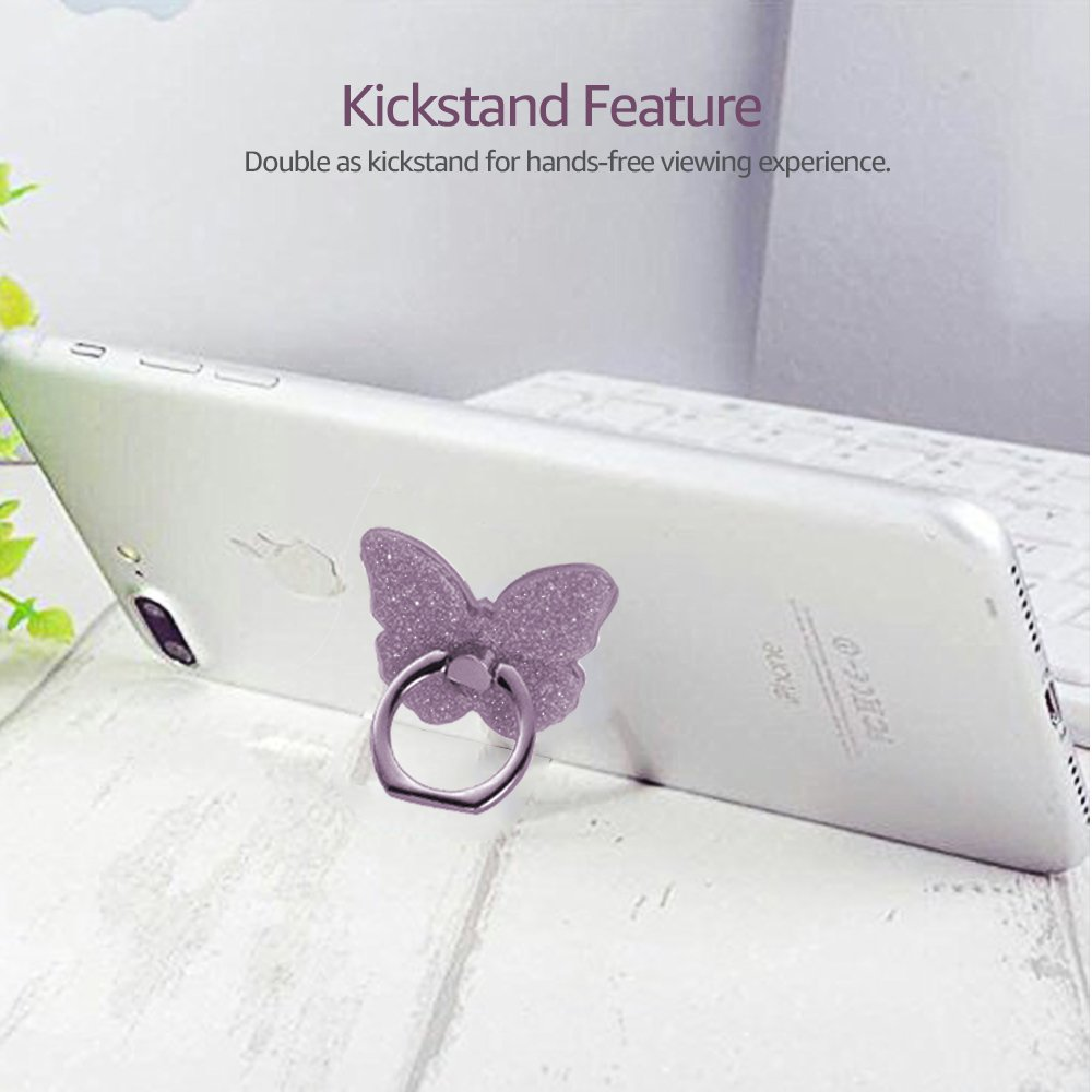 Ascromy Phone Ring Stand Holder Butterfly Bling Glitter Universal 360 Degree Grip for SmartPhones iPhone 7 Xiaomi Huawei Samsung (4)