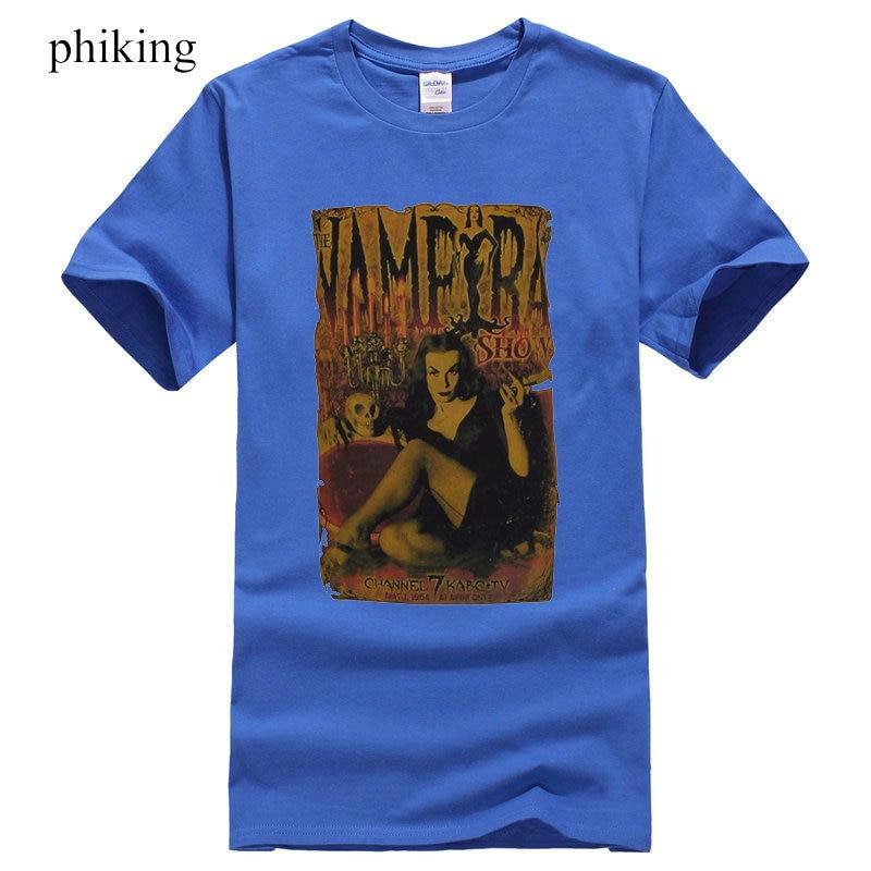 Mens Black T-Shirt The Vampira Show B Movie Horror Poster Vampire Goth S 3XL Printed T-Shirt Boys Top Tee Shirt Cotton