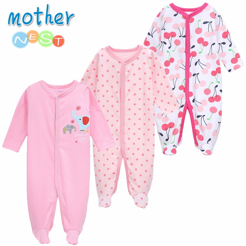 Mother Nest 3 PCSLOT Baby Boy Clothes Comfortable Baby Rompers Winter Thick Climbing Clothes Newborn 0-12 M Baby Clothes Unisex (1)