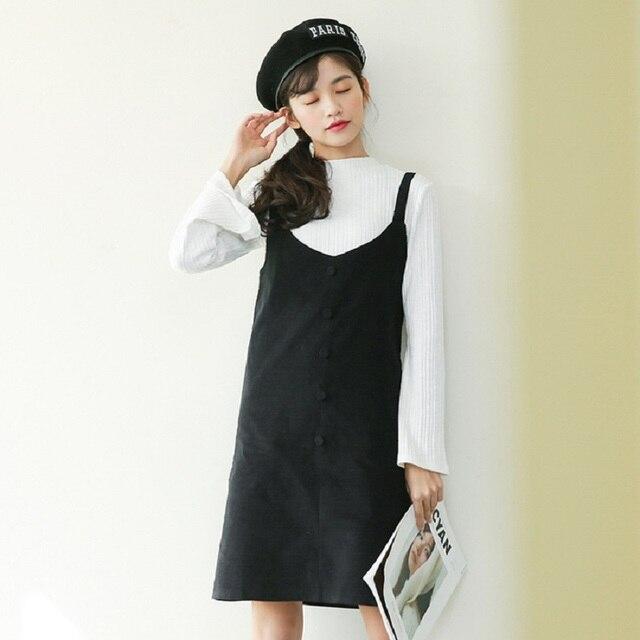 f1159a5506 Korea Sweet Spring Autumn Women Sundress V Neck Suspenders Elegant  All-Match Tank Dress Black Vintage Preppy Girl Corduroy Dress