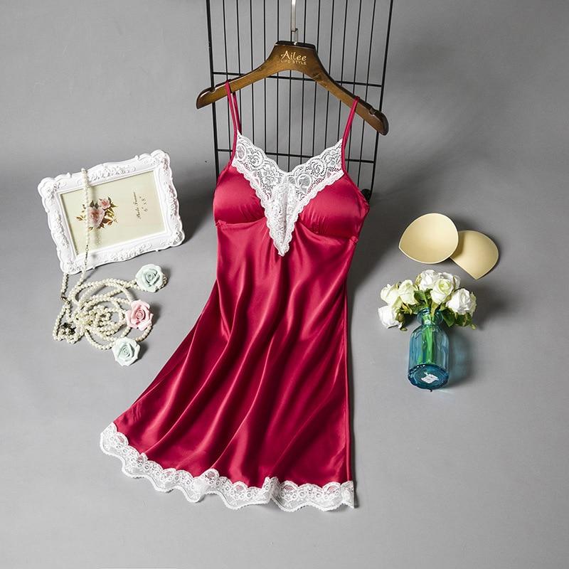 Burgundy Women   Sleepshirt   Sexy Lace Trim Nightdress Summer New Night Gown Mini Home Dress Casual Sleepwear Backless   Nightgown