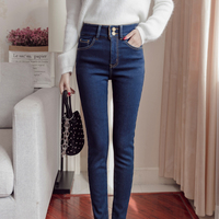 7 Sizes Autumn&Winter Women Casual Thicken And Warmth Fuzzy Lining Pencil Jeans One Burron And Two Button