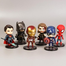 6 PCS/Lot  The Avengers Justice League Display Action Figure Toy Superman Batman Ironman Captain America Model Jouet