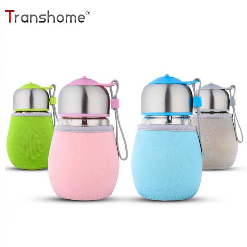 Transhome Glass Water Bottle Cute Penguin Style Bottles with Tea Strainer 420ml Sports Portable Little Bag Glass Bottle