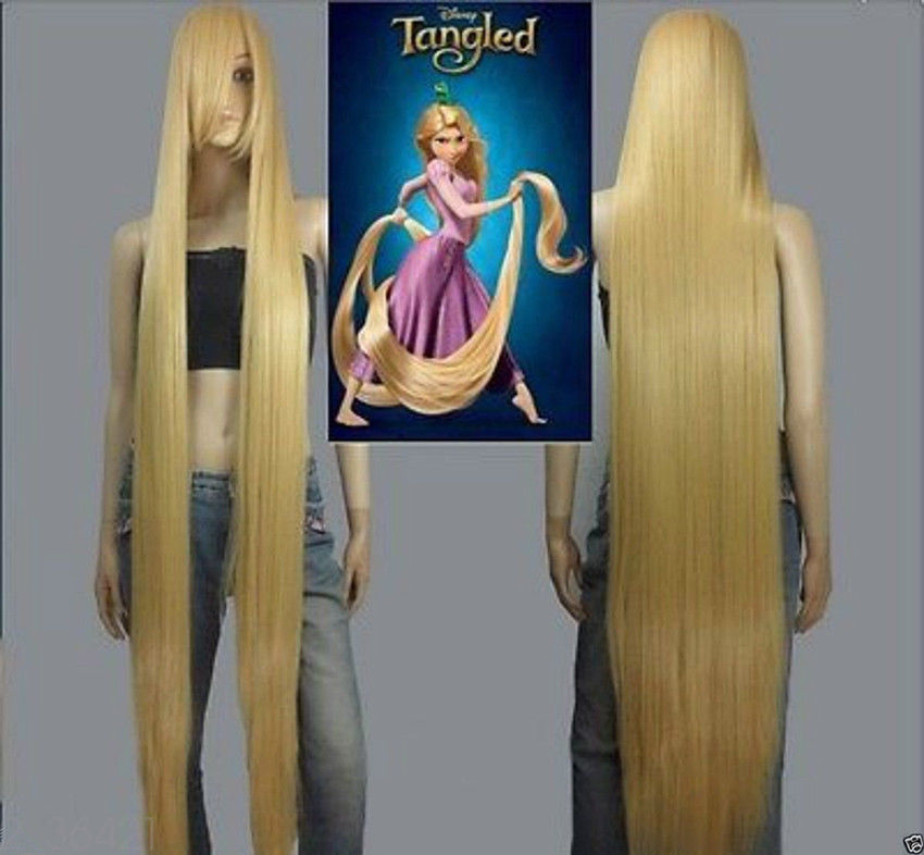 NEW Movie Rapunzel long blonde cosplay wavy wig 150cm Hot Cool +Wig Lace Cap long wavy oblique bang synthetic cosplay wig