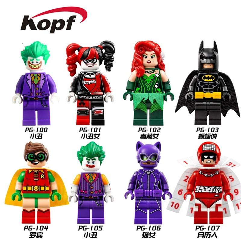 Super Heroes Joker Batman Catwoman Robin Poison Ivy Calendar of people Harley Quinn  Building Blocks Toys Kids PG8032