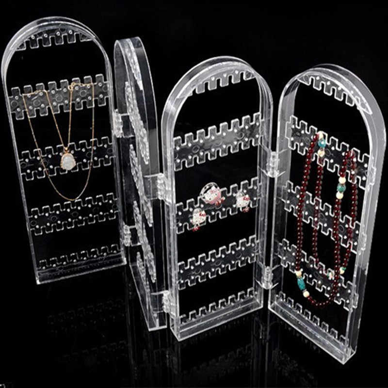 2017 New Arrival 4 Panels Jewelry Display Jewelry Organizer Earring Organizer Acrylic Jewelry Holder Makeup Jewelry Organizer