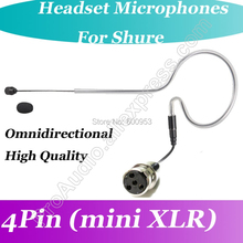 New MICWL Black Omni-Directivity ear Hook Headset Microphone for Shure Wireless mini XLR 4Pin
