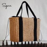 SGARR Для женщин пляжные сумки Высокое качество женские летние соломенных Сумки Мода Большой Ёмкость Drawstring женская сумка