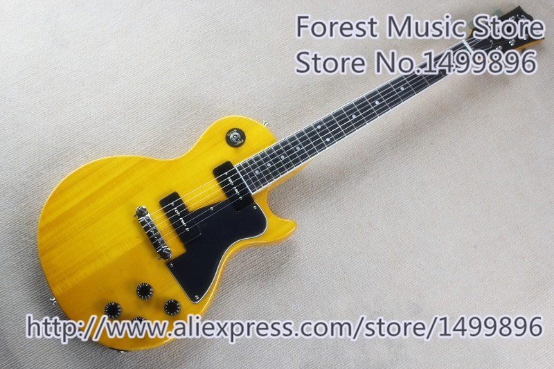 Hot Selling Yellow LP Standard Electric Guitar China OEM P-90 Style Pickup Guitars As Picture In Stock t 2014