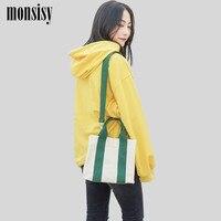 Monsisy 2019 New Women Shopping Bag Girl Canvas Tote Shoulder Bag Solid Hasp Big Capacity Female Beach Eco Reusable Folding Bag