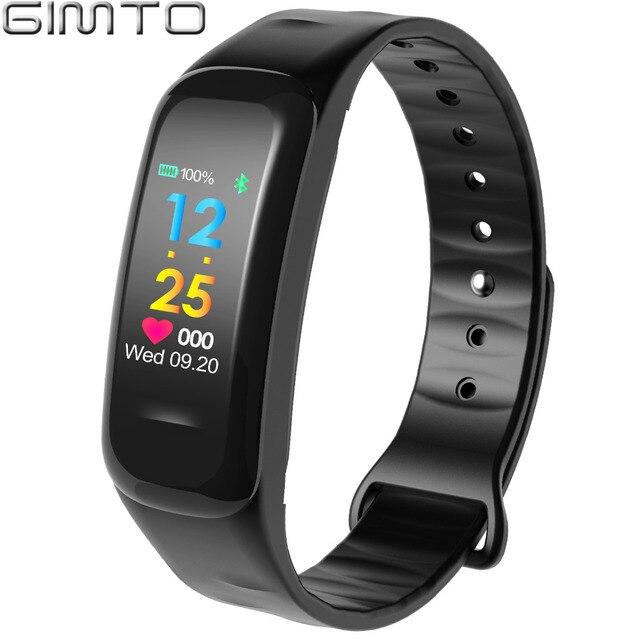 Gimto Для мужчин Для женщин Смарт Браслет спортивные часы bluetooth сердечного ритма Приборы для измерения артериального давления калорий, шагомер светодиодный SmartWatch для iOS и Android