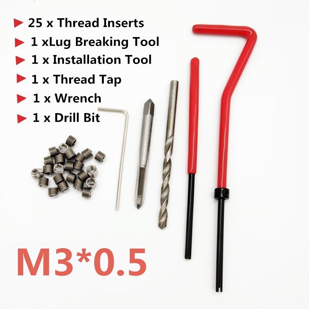 25 stücke Auto Pro Spule Bohrer Werkzeug Metric Gewinde Reparatur Einsatz Kit M3 für Helicoil Auto Reparatur Werkzeuge Grob Brecheisen