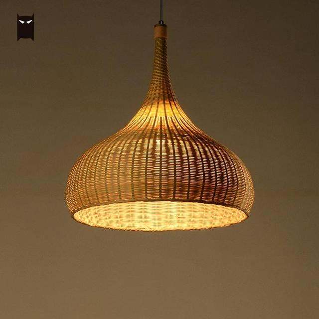 43cm Bamboo Wicker Shade Rattan Fixtures Pendant Lights Primitive Lighting Rustic Asian Hanging Ceiling Lamp For Dining Bed Room
