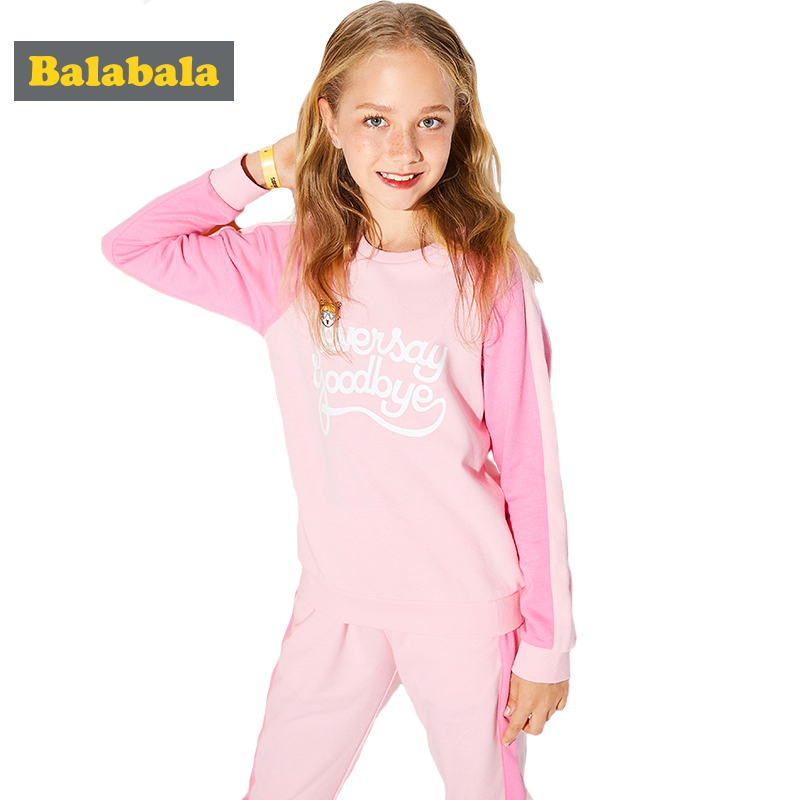 2018 Balabala New spring girls clothes sets T-shirt+ Pants 2pcs/set Long Sleeve Clothing Children Casual Suits Cotton Kids Wear free shipping children clothing spring girl three dimensional embroidery 100% cotton suit long sleeve t shirt pants