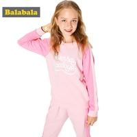 2018 balabala 春の新作ガールズ服セット tシャツ + パンツ 2 ピース/セット長袖服の子供カジュアルスーツ綿子供