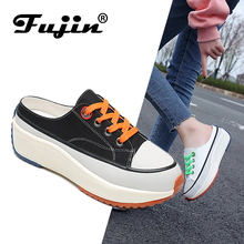 Fujin Flat Shoes Women Spring and Summer Chic Canvas Sneakers Rocking Dropshipping Female Casual High Top