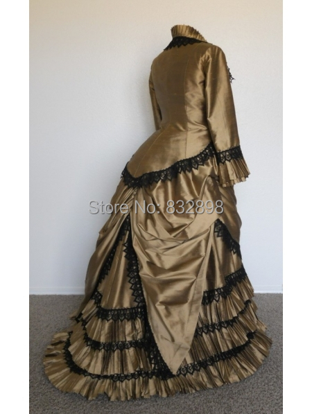 Buy historical champagne satin victorian for Victorian bustle wedding dress
