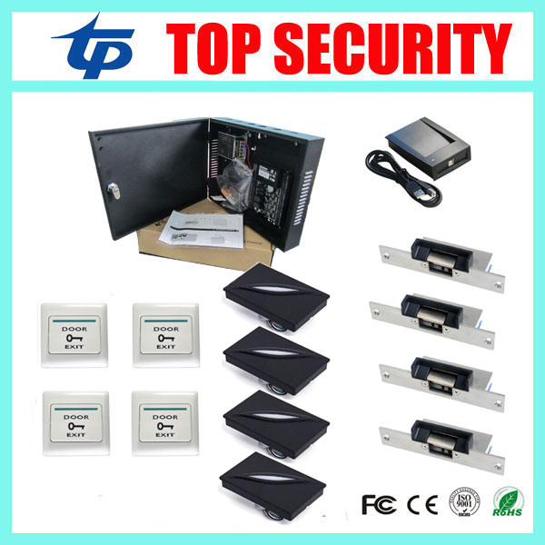 Free shipping cheap ZK C3-400 software zk teco door access control system 4 doors access control panel with all accessories free shipping pos software cheap touch