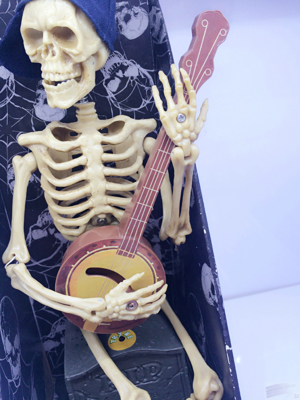 skeleton ghost play guitar with music halloween toy bar party kids