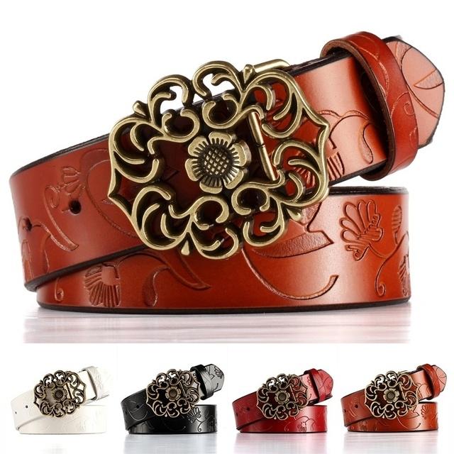 2016 mejores productos mujer nueva hebilla en relieve Retro correa de cuero de Metal sólido cuero de la Pu de alta calidad súper ventas de la flor