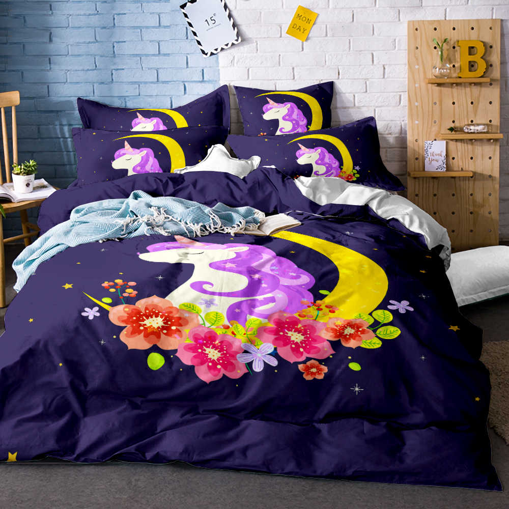 3D Digital Printing Watercolor Hand Drawn Floral Sleeping Rainbow Unicorn Comforter Bedding Set 100% Microfiber Pink