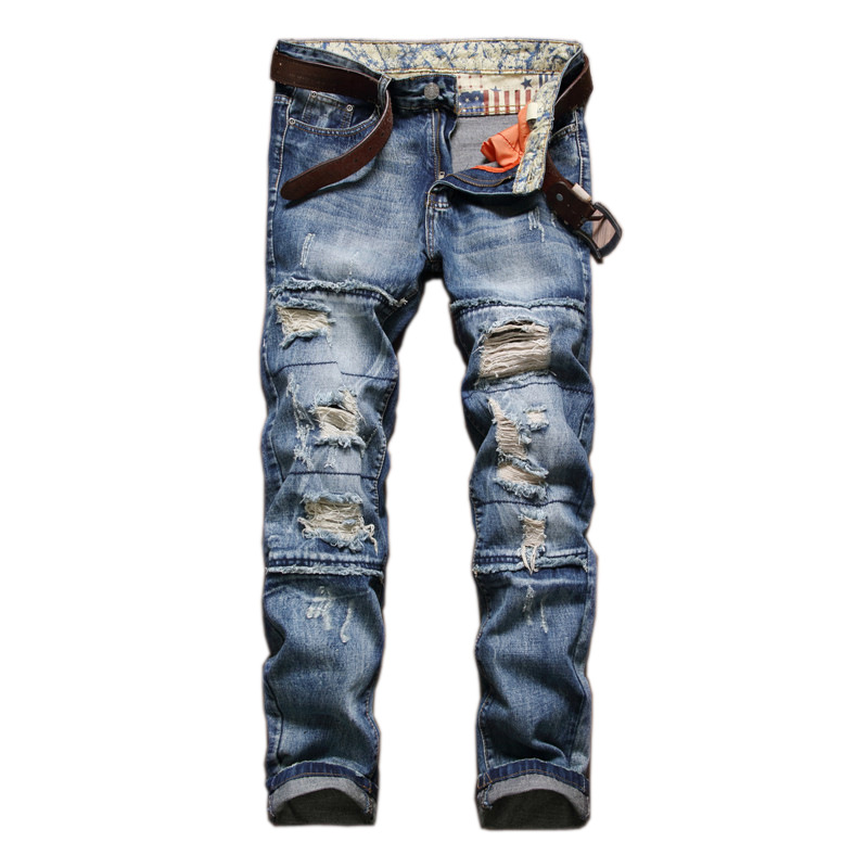 High Quality Mens Ripped Biker Jeans Cotton Blue Slim Fit