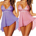 Lingerie Sexy Pijama de Underwear Mulheres Babydoll Cordas Lace Mini Vestido Dentelle Femme Vestido de dormir