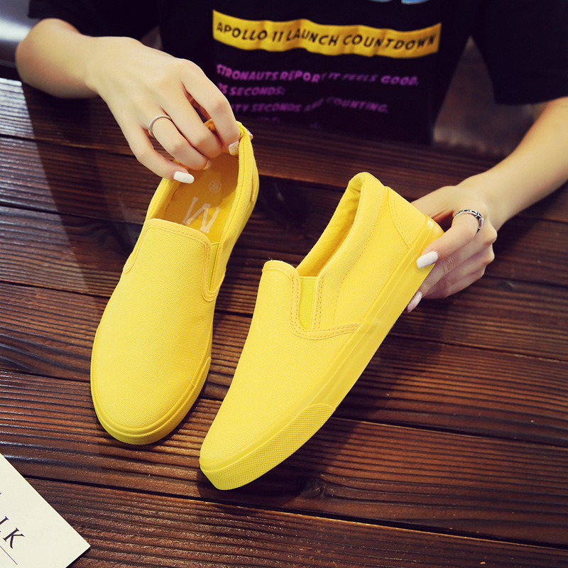 Women Vulcanize spring auntum Shoes Summer Breathable fashion Trainers Casual Shoes Cheap yellow Canvas Platform Shoes Sneakers