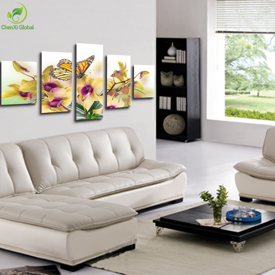 5 Panel Large Modern Flower Butterfly Canvas Painting Cuadros Wall Picture For Living Room High Definition PrintingNo Frame In Calligraphy From