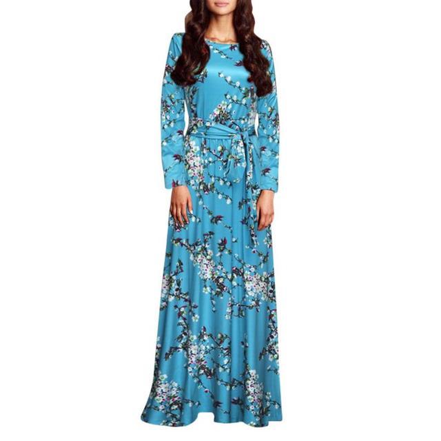 Belle pas cher robes Femmes D\u0027été Imprimer Longue Robe De Soirée Plage Robe  Sundresss