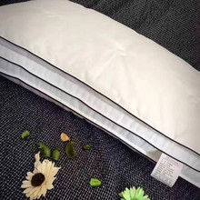 Double Layer Designer Sleep pillow,Soft Soybean Fiber+Microfiber Pillow For Bed,Rectangle White Neck Jacquard fabric pillow(China)