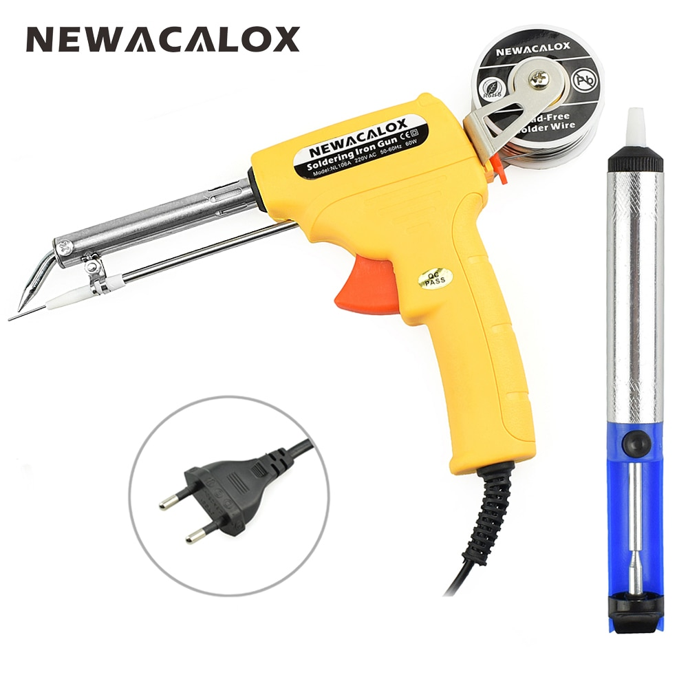 NEWACALOX 220 v 60 watt EU Automatische Senden Zinn Gun Elektrische Lötkolben Rework Station Entlötpumpe Schweißen Tool Solder draht