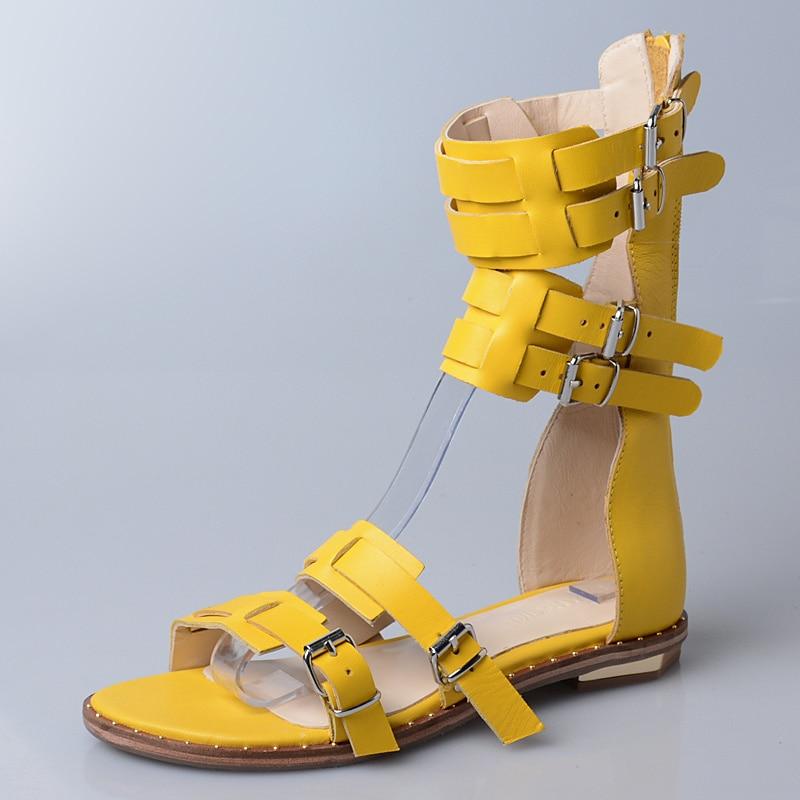Prova Perfetto Sommer Neue Stil Schmale Band Frauen Schuh Mode Aushöhlen Wort Schnalle Flache Sandale Frau Retro Rom Sandale stiefel-in Flache Absätze aus Schuhe bei  Gruppe 2