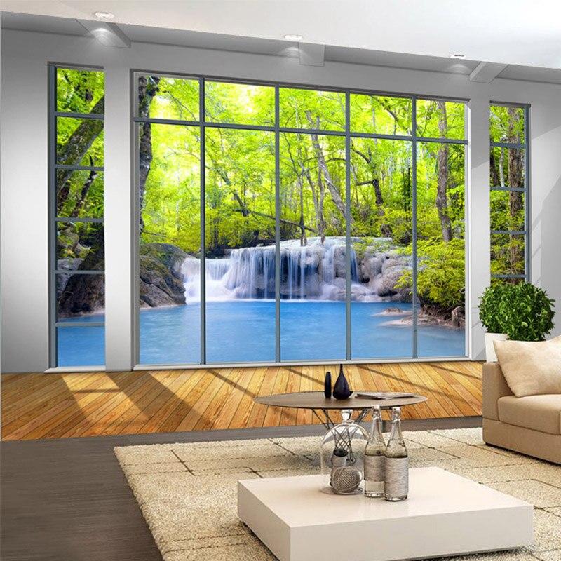 Foto Behang 3d Window Forest Waterval Natuur Landschap Muurschilderingen Woonkamer Tv Sofa Achtergrond Muur Doek 3 D Papel De Parede Uitgebreide Selectie;