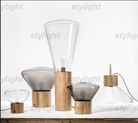 Large size table lamp wood base glass shade table light nordic design modern desk lamp novelty vintage lamp fixture living room