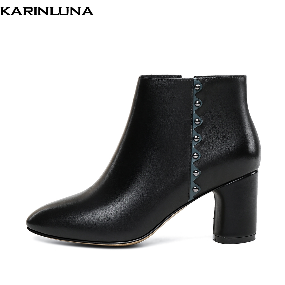 KARINLUNA HOT SALE 2019 HIGH HEELS NATURAL COW GENUINE LEATHER BOOTS WOMEN SHOES ELEGANT LADY SHOES WOMAN ANKLE BOOTSKARINLUNA HOT SALE 2019 HIGH HEELS NATURAL COW GENUINE LEATHER BOOTS WOMEN SHOES ELEGANT LADY SHOES WOMAN ANKLE BOOTS