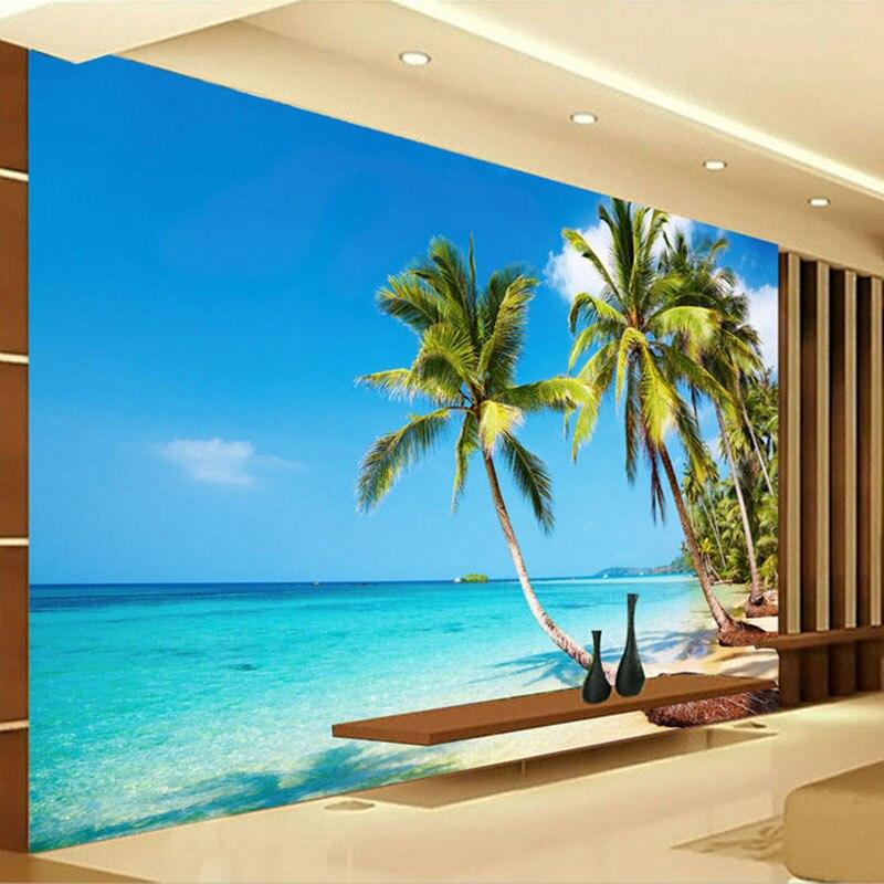 Custom 3D Photo Wallpaper Murals Sunshine Sea Water Beach Coconut Tree Wall Mural Wallpaper Living Room Sofa Bedroom TV Backdrop