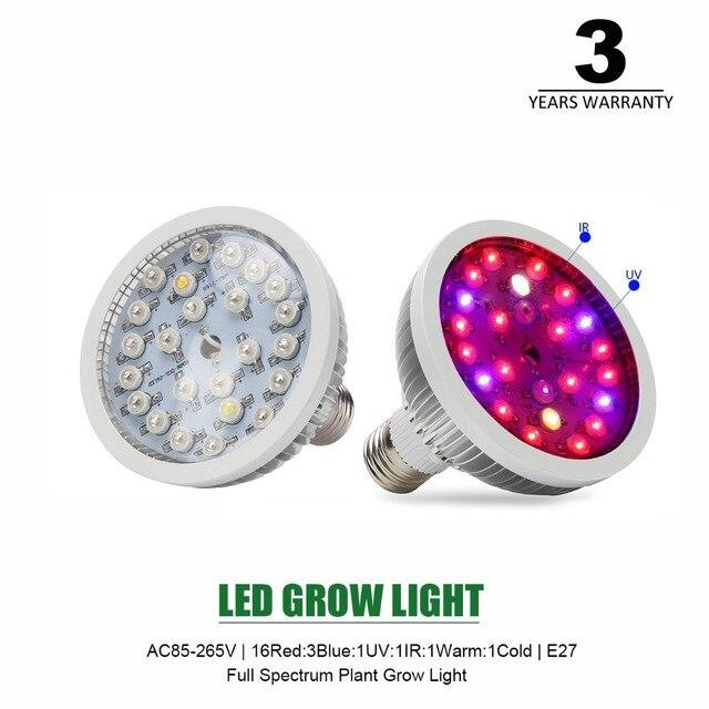 110/220V E27 LED Grow Lamp high Power Red Blue UV IR light Grow ...