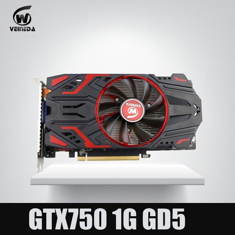 Veineda Video Card 100% Original GPU GTX750 1GB GDDR5 Graphic card Instantkill GTX650Ti ,HD6850 ,R7 350 For nVIDIA Geforce Games