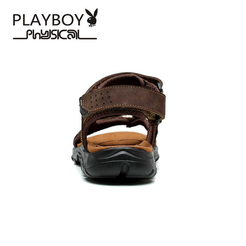 PLAYBOY 2016 Zomer Nieuwe Merk mannen Sandalen Designer Lederen Mens Koeienhuid Slippers Mode Man Strand Schoenen