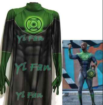 Green Lantern 3D Printing Cosplay Costume Spandex Zentai Catsuit Halloween Costumes Custom Made Hot Sale - DISCOUNT ITEM  0% OFF All Category