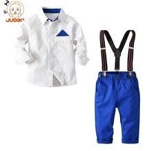 133fedc74ba38 Bahar Beyefendi Çocuk Bebek Erkek Giysileri Set Genç Pamuk Beyaz Gömlek  Bluz + Askı Pantolon Çocuk Kıyafet 2 adet/takım Resmi