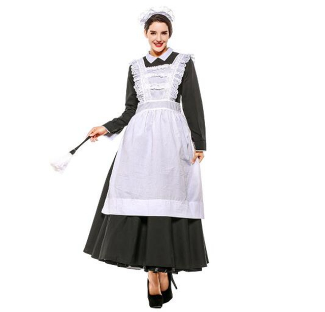 ec3291377b9d1 Women French Style Victorian Maid Costume Female Vintage Long Dress Castle  Village Maid Attire For Lady S-XXXL