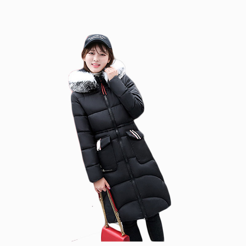 2017 NEW HOT WOMEN WINTER JACKER X-LENGTH LARGE FUR COLLAR THICKEN WARM FEMALE PARKAS COTTON WADDED COAT HIGH QUALITY ZL656