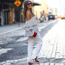 2017 Summer Women Top Blue White Striped Patchwork Sexy Elegant Top Off Shoulder Butterfly Sleeve Casual Crop Tops Wholesale