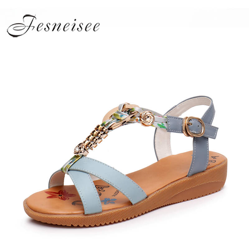 где купить FESNEISEE Spring Summer Female Sandals Genuine Leather Hollow With Fish Mouth Women Shoes Women Sandals Plus Size 33--43 Q6.0 по лучшей цене