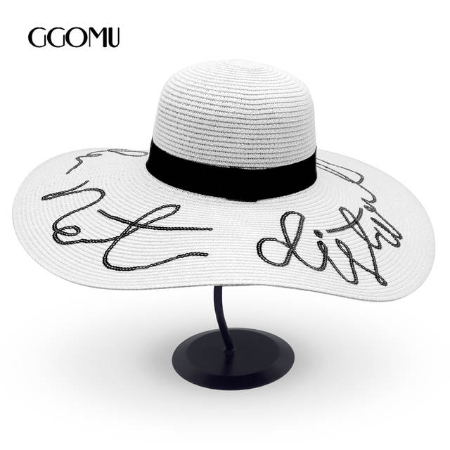 ae780f219af placeholder dropshipping summer do not disturb Sequin letter wide brim sun  hats for women Beach vacation fashion