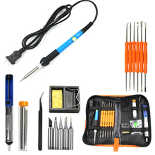 60W Adjustable Soldering Iron Kits 18PCS/SET Solder Station For Wood Burning Tool lutownica Desoldering Pump Tip Wire Pliers soldering iron 60w adjustable electric solder station iron kits digital multimeter multifunctional pyrography wood burning tool