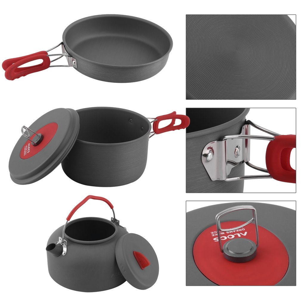 Image 5 - 2019 Non Stick Aluminum Camping Cookware ALOCS Ultralight Outdoor Cooking Picnic Kettle Dishcloth For 2 3 People-in Outdoor Tablewares from Sports & Entertainment